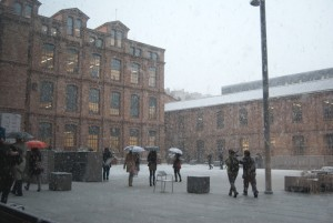 Nieva en el campus de Poblenou